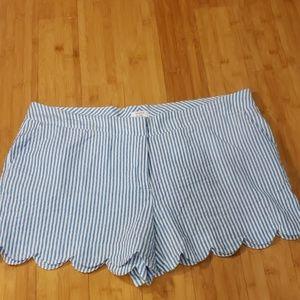 👑 EUC Crown & Ivy Seersucker Scalloped Shorts